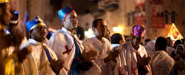 Koptische christenen vieren Kerstmis in Bethlehem