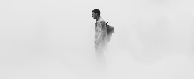 Man in de mist, op een berg, zoals bij de gedaanteverandering