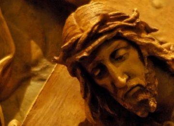 Uit de kruisweg, 2e statie, Jezus neemt zijn kruis op.