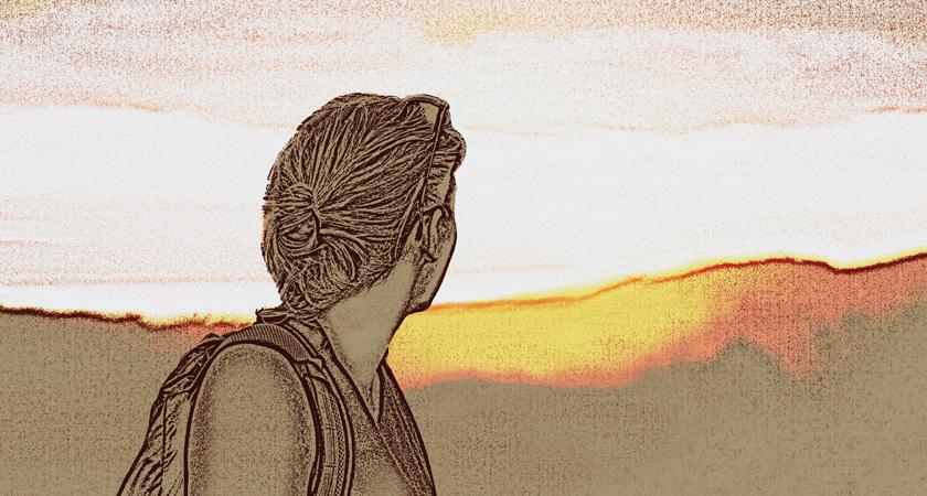 Poster van de adventsretraite. Een vrouw kijkt naar de horizon, een opkomende zon.