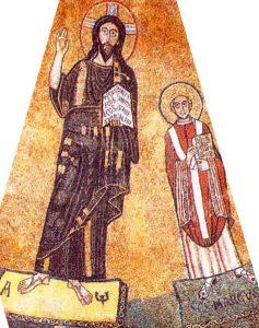 Markus (met zijn evangelieboek) naast Christus. 833, mozaïek. Italië, Rome, San Marco
