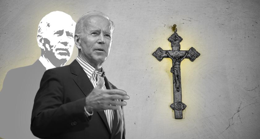 Katholiek Joe Biden en tegen de achtergond een crucifix